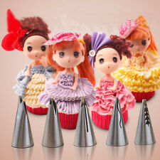 5PCS Tool Russian Top Icing Piping Nozzles Doll Dress Fondant Cake Mould Baking