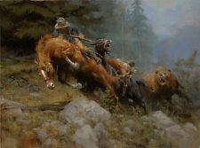 Art Print Cowboy Oil painting Picture Printed on canvas 16x20 Inches P141