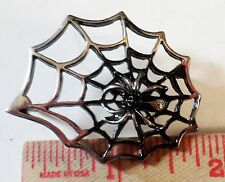 Vintage unusual large Spider & Web pin collectible old biker vest pinback