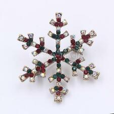 Diamante Crystal Rhinestone Snwoflake Brooch Lapel Pin Banquet Broach Xmas Gifts