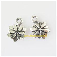 30Pcs Tibetan Silver Flower Charms Pendants 9.5x13.5mm