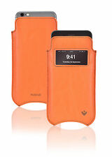 For Apple iPhone 6/6s Plus Orange Vegan Leather Screen Cleaning Cover w/ Window