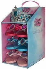 Girls Princess Slipper Shoes Fancy Dress , Dressing Up & Blue Tiara Set