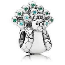 Authentic Pandora Retired 925 #791227mcz Peacock teal green cz Slide Charm NWOT