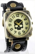 LEATHER BLACK SKULL WATCH WRISTBAND WRIST STEAMPUNK MENS SKELETON STRAP HEAD UK
