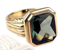 Art Deco Herren Siegel 8 K 333 Gelb Rose Gold grüner Turmalin Ring antik