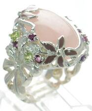 David Sigal Solid 925 Sterling Silver Enamel Floral Rose Quartz Ring Sz-6.5 '