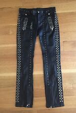 DIESEL BLACK GOLD NWT Womens Peski Studded Black Leather Pants IT 38 $2395