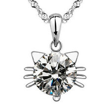 """Lady 925 Solid Sterling Silver CAT Crystal Rhinestone Pendant Chain Necklace 18"""""""