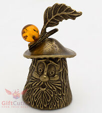 Solid Brass Amber Figurine Magic Mushroom bell talisman IronWork
