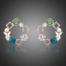 18K Rose GP Multicolour Swarovski Austrian Crystal Round Stud Earrings
