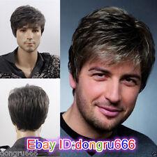 Moda Sexy Uomo Uomo Corto Grigio Cosplay parrucche di capelli naturali + Parrucca Cap