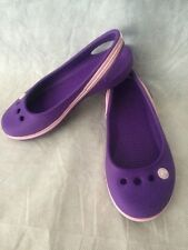 Girls Purple Authentic CROCS  Ballet Flats Slip On Shoes Sz 12 C