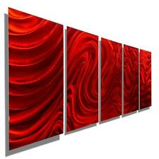 Large Red Multi Panel Modern Abstract Metal Wall Art Sculpture - Jon Allen