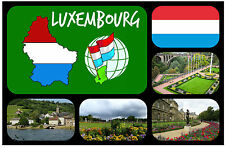 LUXEMBOURG FLAG, MAP & SIGHTS - SOUVENIR NOVELTY FRIDGE MAGNET - NEW - GIFT