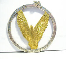 "STERLING SILVER GOLD EAGLE PENDANT 1975 ""GOOD WILL TOWARD MEN"" 29 GRAMS /418"