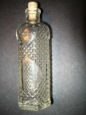 Antique Serpis Alcoy 6-Sided Clear Diamond Design Glass Bottle with Cork