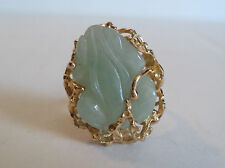 "UNUSUAL VINTAGE ESTATE 14K GOLD & CARVED JADE NOVELTY ""FROG"" RING, SIZE 7"
