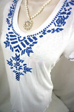 Lucky Brand Top Size Medium Floral Embroidered Blue Peasant Womens Shirt Blouse