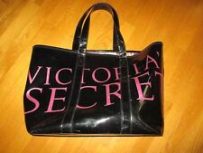 Victoria's Secret Black Patent Leather Runway Model Tote Beach Gym Bag