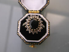 Women's 9ct Gold Sapphire Cluster Ring Stamped Size K Weight 2.2g Vintage Ring
