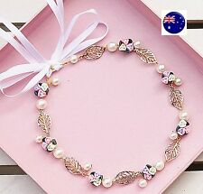 Women Beach wedding Flower Girl gold leaf Hair Headband crown Prop Garland hoop