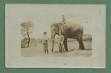 EARLY 1900'S PC - 3 MEN WITH PITH HELMETS & ELEPHANT - INDIA?