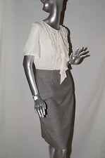 Escada Dress, Size 42 (12), Cream Silk Top w/B&W Wool Houndstooth Bottom