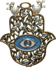 Blue Hamsa Wall Hanging Hand of God Jewish Hebrew Home Protection with Evil Eye