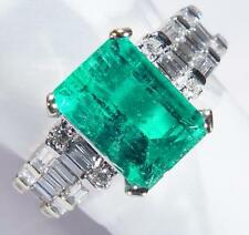 Estate 3 Carat Emerald Diamond Cocktail 18k White Gold Ring