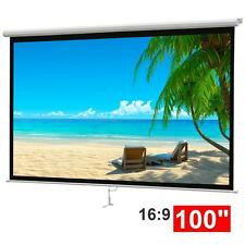 """100"""" 16:9 Home HD Movie Manual Projection Screen Pull Down Projector Matte White"""