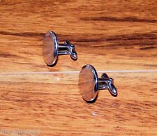 Genuine Pair of Swank Silver Tone Men's Circle Cuff Links Only **READ**