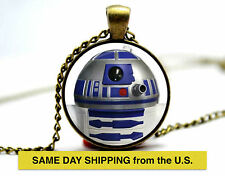 Retro Style Handmade Glass Dome Necklace, Star Wars r2d2