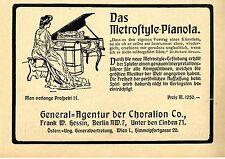 Die Metrostyle-Pianola * Preis Mark 1250,- * Klassische Annonce von 1905