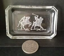 "Antique, Pin Tray, Etched Glass, ""Polo Players"",Hoffman, 1900-1940, Czech"