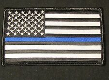 LARGE USA AMERICAN FLAG US ARMY BADGE BLUE LINE VELCRO® BRAND FASTENER PATCH