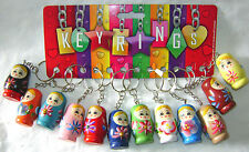 NEW 12 WOODEN PAINTED BABUSHKA RUSSIAN DOLL STYLE KEYRINGS KEY RINGS CUTE! HB
