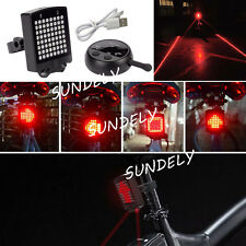UK Bicycle Bike Indicator LED Rear Tail Light USB Wireless Remote Control Laser