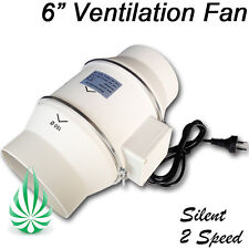 "LOW NOISE 2 SPEED HYDROPONICS VENTILATION EXHAUST FAN 6""/150MM DUCT EXTRACTOR"