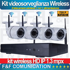 KIT VIDEOSORVEGLIANZA AHD IP HD FULL HD 720P WIRELESS WIFI ESTERNO 4 TELECAMERE