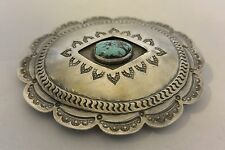 "XL Sterling Silver ""Concho"" BELT BUCKLE Navajo TURQUOISE 1960's Great Stamping!"