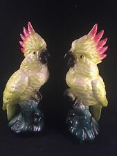 VINTAGE PAIR of  COLORFUL COCKATIEL BIRD FIGURINES