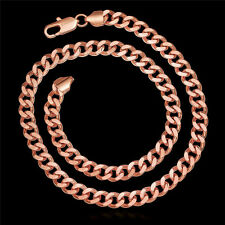 Heavy 54G 50cm 18k Rose Gold Filled GF Curb Link 8mm Necklace N-426