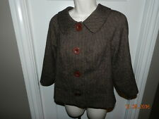 GUESS houndstooth Brown Swing 4 Button Collared Jacket Blazer Sz M EUC