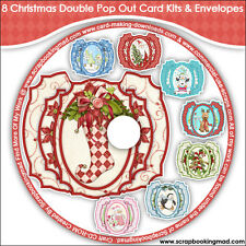 DISK 8 - 8 Christmas Double Pop Out Card Kits & Envelopes - CD-ROM