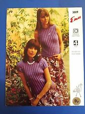 Emu Women's Sweaters With & Without Sleeves Knitting Pattern 3009