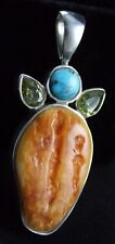 Spiny Oyster Shell Turquoise Peridot  Pendant Sterling Silver .925