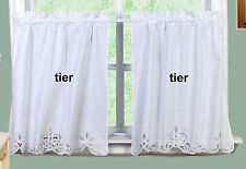 "White Battenburg Lace Kitchen Curtain 22"" L Tiers New by Creative Linens"