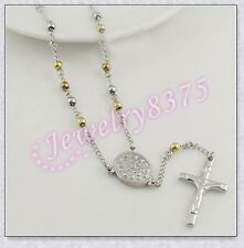 Fashion Stainless Steel  Womens Mens 4mm Silver Gold Beads Rosary Chain Necklace