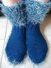 Hand knitted cozy and warm slippers/socks/booties, navy with fuzzy blue